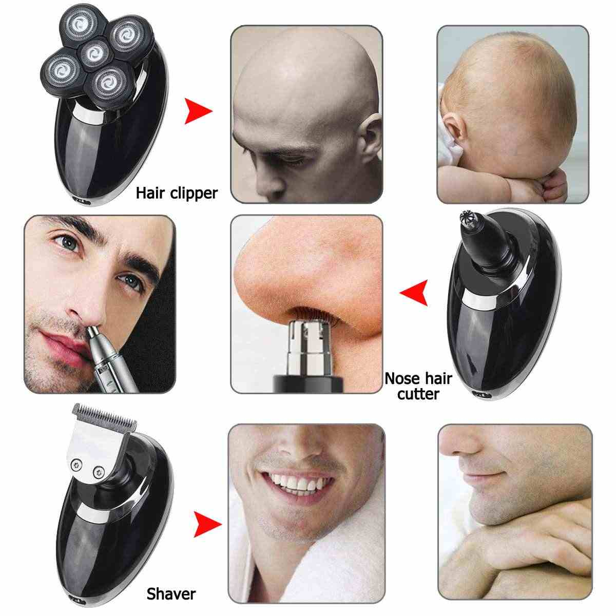 SPZ 3 in 1 USB Rechargeable Male Electric Shaver Bald Head Rotary Beard Shaver Razor Hair Trimmer Clipper Nose Grooming Kit Sets