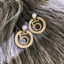 New Fashion Women Jewelry Simple Simulated Pearl Number 5 Circle Earrings Rhinestone Tassels Asymmetry Drop Earrings circle fake pearl drop earrings page 7