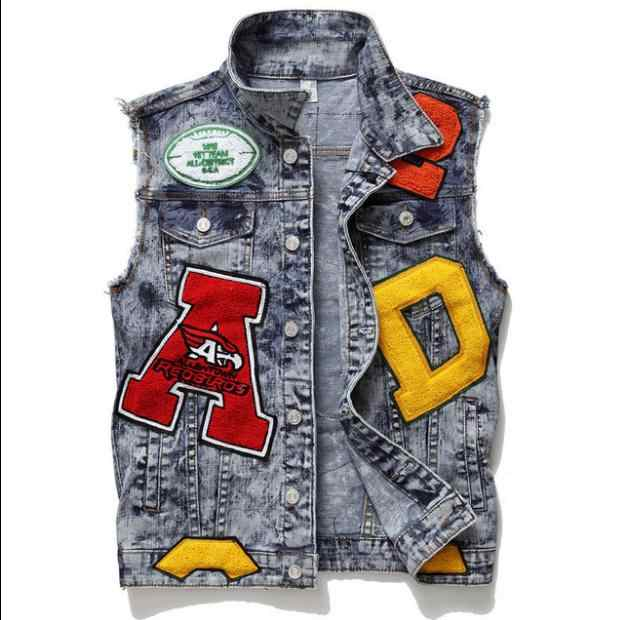 Mannen Jeans Vest Borduren Letters Print Lente Herfst Casual Mouwloze Denim Jasje Single Breasted Top Tanks M/3Xl Vest j3127