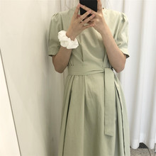 Summer Women Long Dress with Belt Short Sleeve O-neck A-line Loose Pullover Ladi