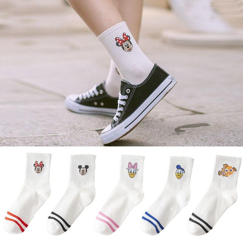 5 Pairs/Lot Korea Style Women Socks Cartoon Animal Kawaii Mouse Socks Cotton Cute White Color Long Sock Casual Happy Funny Socks