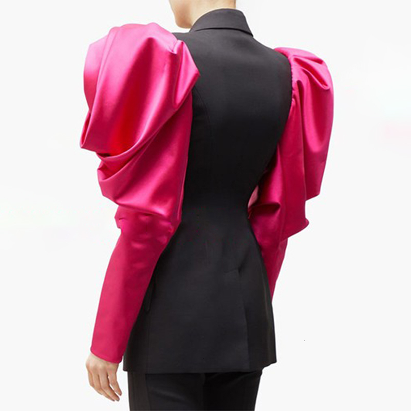 Patchwork Hit Color Women's Notched Blazer Puff Long Sleeve High Waist Female For Blazers mujer chaqueta