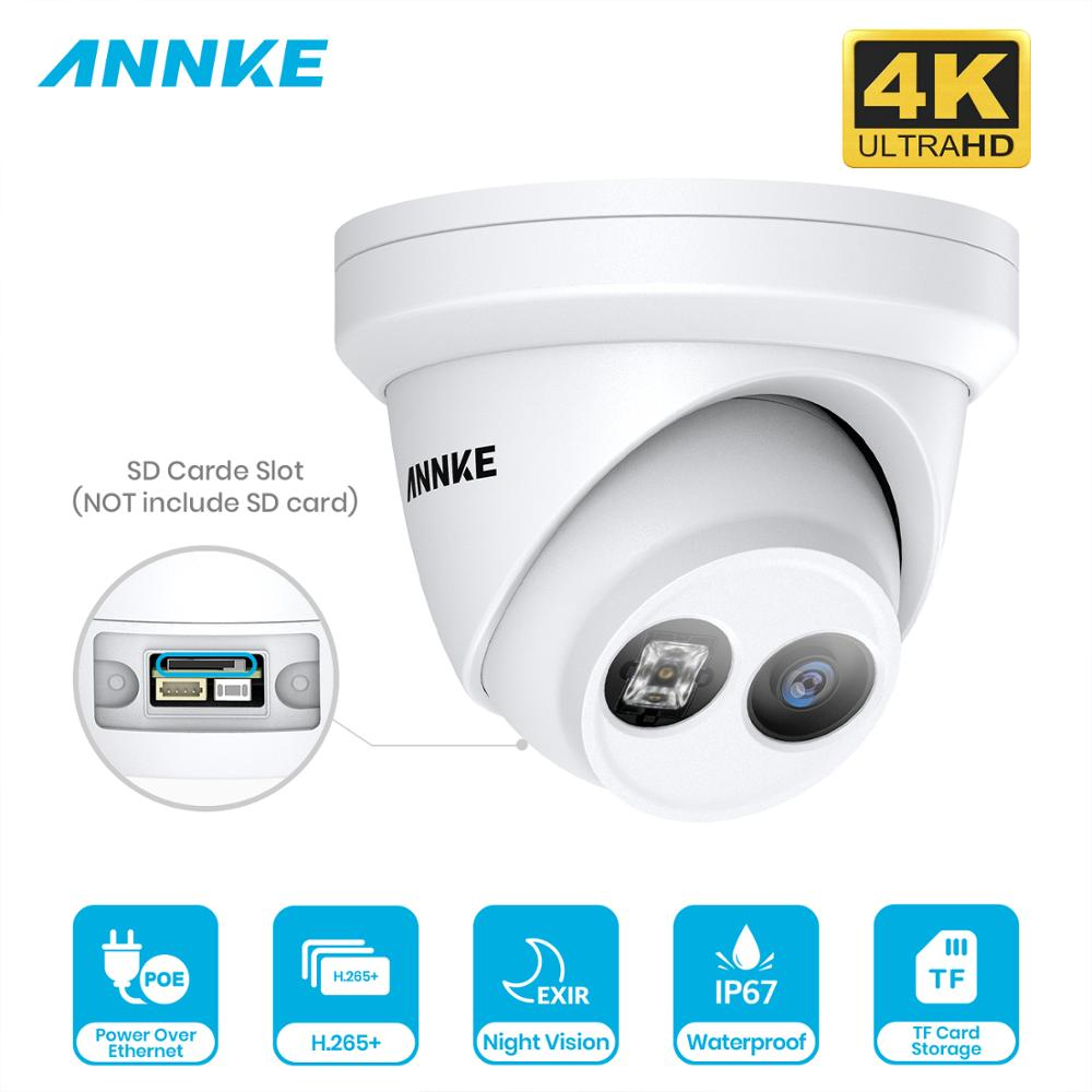 ANNKE 1PC Ultra HD 8MP POE Camera 4K Outdoor Indoor Weatherproof Security Network Dome EXIR Night Vision Email Alert CCTV Camera image