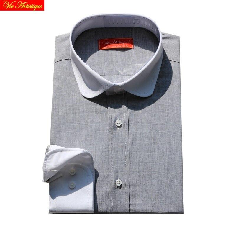 Custom Tailor Made Men's Bespoke Dress Shirts Business Formal Wedding Blouse Bespoke Blouse 100% Cotton Silver Grey Free Ship
