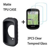 Carcasa de Gel de sílice antideslizante para Garmin Edge 830 530, Protector de pantalla de vidrio templado 9H, transparente, 2 uds., 830