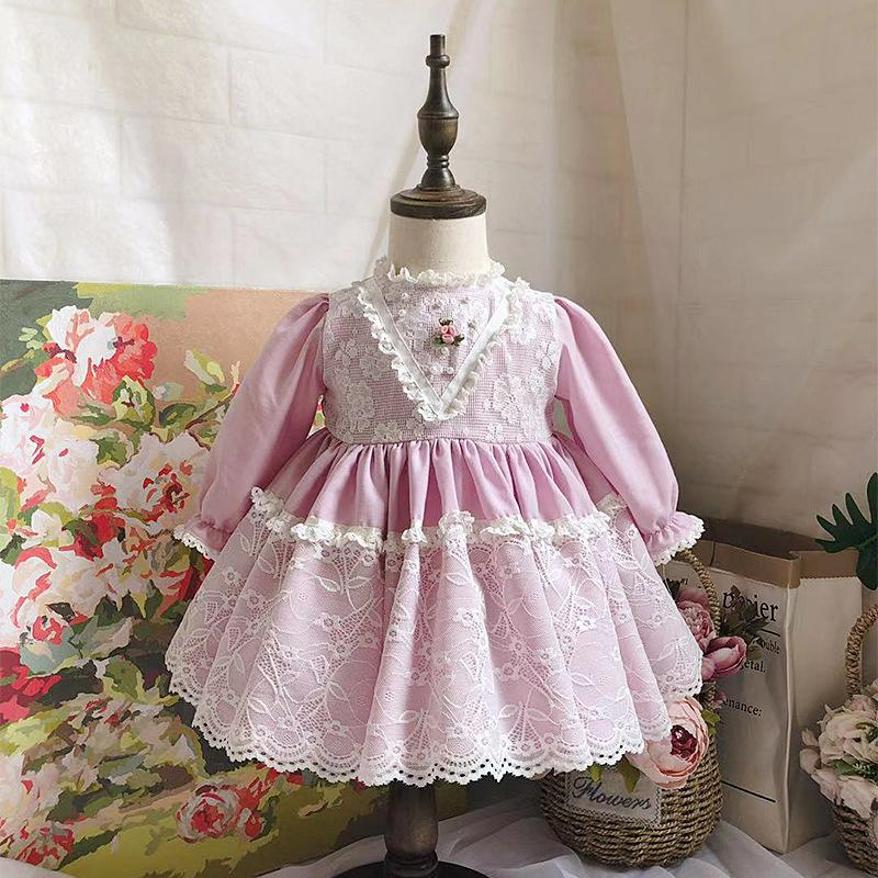 Spanish Vintage Palace style Princess Girls Dress Long sleeve Lace Spliced Sweet Dress Modis kids Clothes Dress Vestidos Y2031