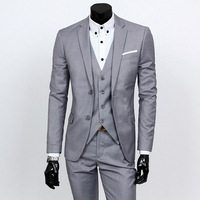New 3pcs Wedding Suits for Men Three piece Suit Slim Korean Casual Suit Business Dress Groom Wedding Dress Groomsmen Clothes