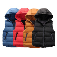 Boys Girls Zip Quilted Gilet Body Warmer Hooded Sleeveless Down Coat