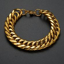 Granny Chic 9/11/13/16/19mm Heavy Mens Bracelet Curb Cuban Link Gold Color 316L Stainless Steel Wristband Male Jewelry