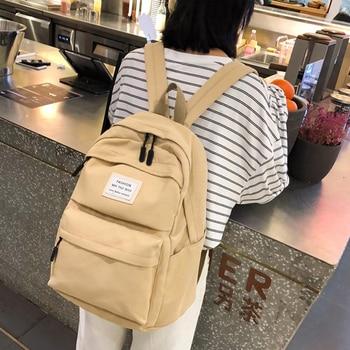 Mochila para mujer, mochila de Color sólido, mochila de nailon para mujer,...