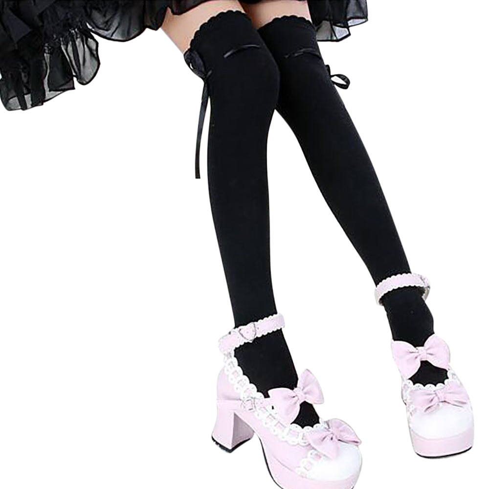 New Women Over Knee Stockings High Thigh Bow Decoration Cotton Cute Stocking Long Knittd Fashion Winter Stockings Kawaii