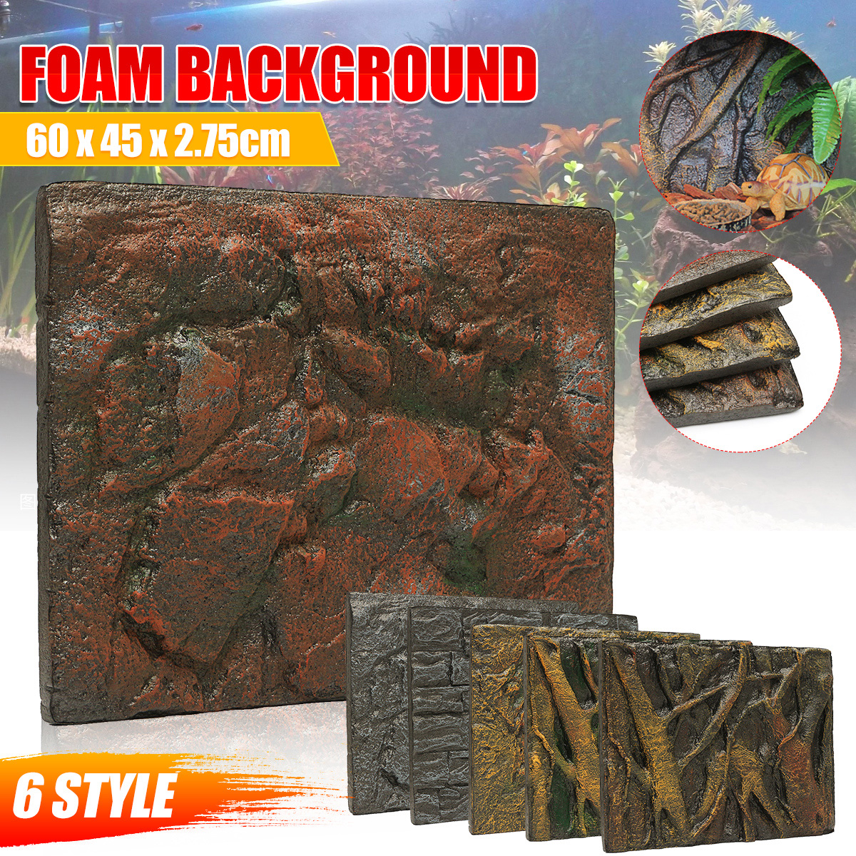 6 Types 3D Foam Rock Reptile Stone Aquarium Background Backdrop Fish Tank Board Decor Wholesale PU Leather Foam 60x45x3cm