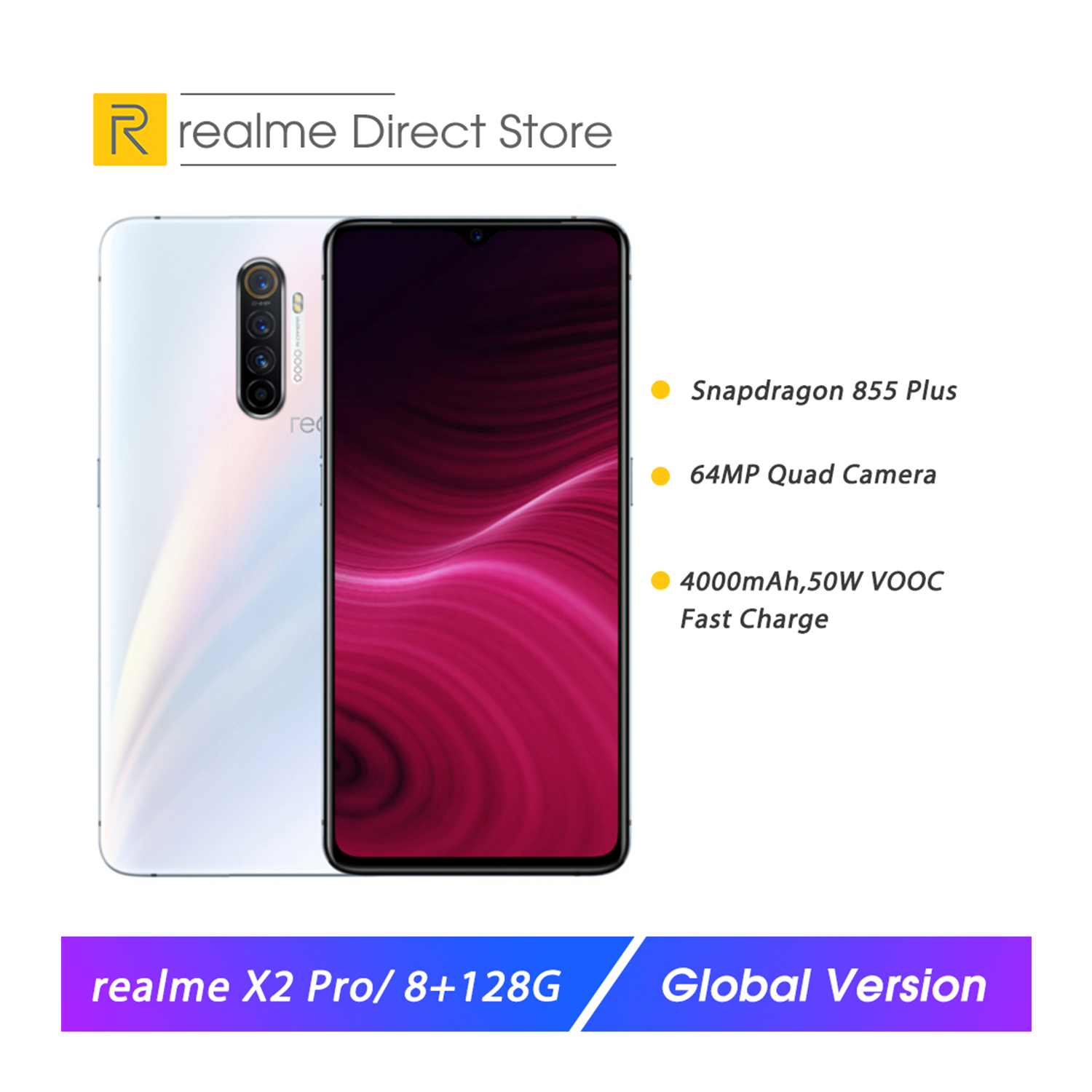 Realme X2 Pro 8GB 128GB 6.5'' Moblie Phone Snapdragon 855 Plus 64MP Quad Camera NFC Smartphone OPPO VOOC 50W Fast Charger