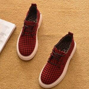 Image 4 - אופנה נשים נעלי 2020 אביב סתיו משובץ מזדמן נשים נעליים שטוח מותג גבירותיי קרסול Botas A1118