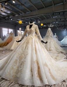 Image 3 - Ivoor Lange Mouwen Trouwjurken Met Gouden Kant Voor Vrouwen 2020 Prinses Puffy V hals Corset Real Foto Vintage Bridal jassen