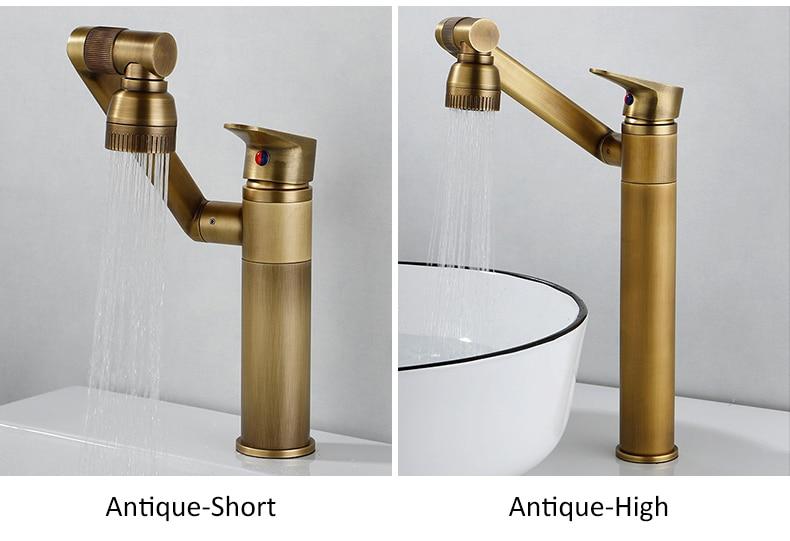 H63226f46da4c41a79c226ab724ad9c41H ELLEN Multifunction Bathroom Sink Faucet Hot Cold Water Mixer Crane Antique Bronze Deck Mounted Universal Water Taps EL1326