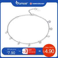 Bamoer 925 prata esterlina simples cristal geométrico cz link chain pulseiras & bangles para mulher autêntico jóias de prata scb103