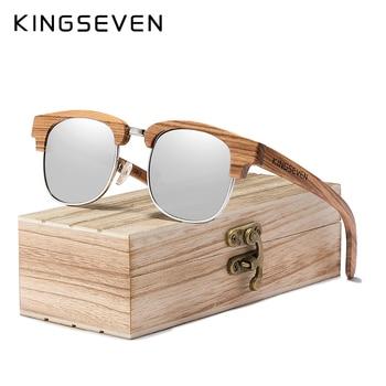 KINGSEVEN 2020 nowy Retro drewniane naturalne męskie okulary przeciwsłoneczne spolaryzowane mężczyźni zawias sprężynowy ochrona UV400 óculos De Sol Feminino G5917