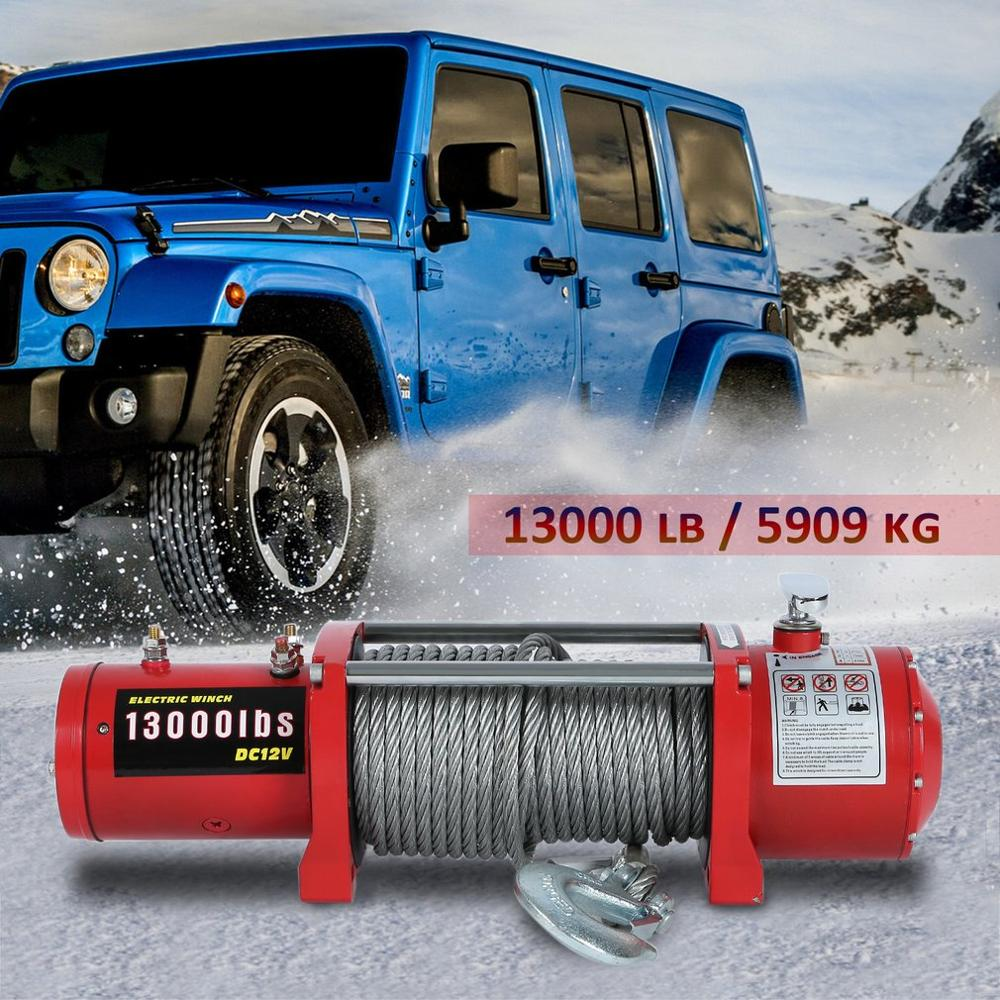 FR 12V 13000lb Electric Winch High Performance Cars Engines Lift Winch With Remote Control Auto Lifting Sling Crane Equipment
