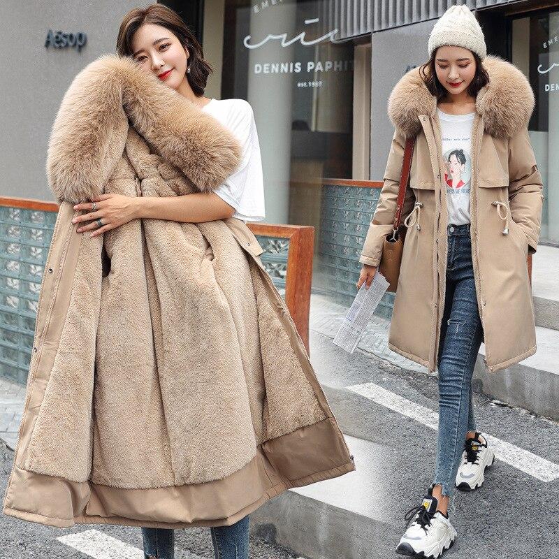 Large Size Winter New Women's Cotton-padded Coat Mid-length Big Fur Collar Plus Velvet  Down Jacket 2021