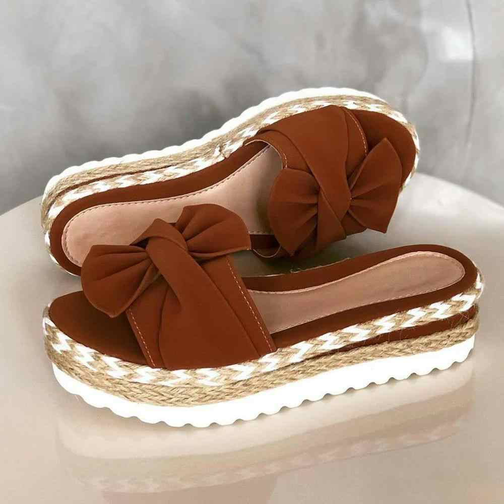 2020 kadın yaz plaj sandaletleri orta topuklu takozlar ayakkabı kadın roma tasarım yay-düğüm Sandalias terlik slaytlar rahat terlik