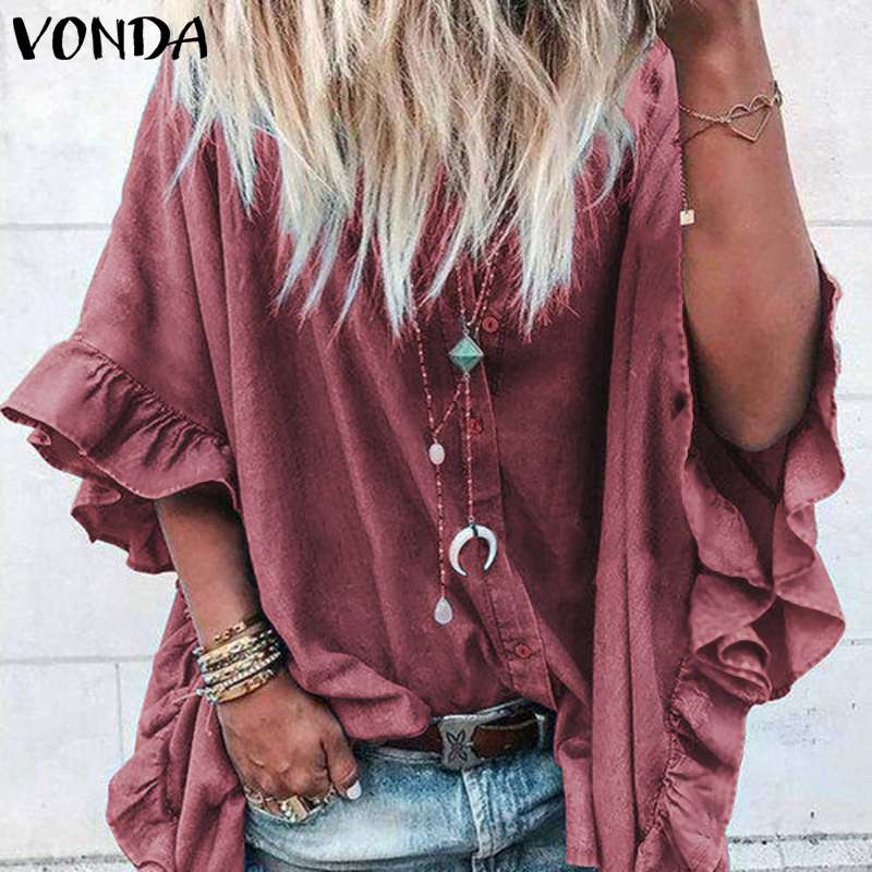 VONDA Women Casual Loose Lapel Neck Buttons Half  Sleeve Ruffle Blouse Sexy Office Ladies Shirts Tunic Plus Size Tops 5XL