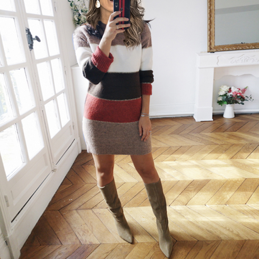 Autumn Winter Women Knitted Dress Striped Printed Fashion Casual Ladies Mini Dress Round Neck Long Sleeve Female Dresses D30