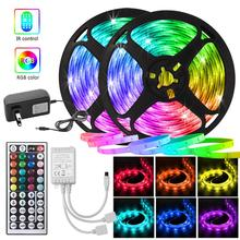 Flexible Neon Light LED Strip 12V for Room Kitchen Decoration 5050 RGB Tape with 44key Controller Color Changing Dimmer Lighting