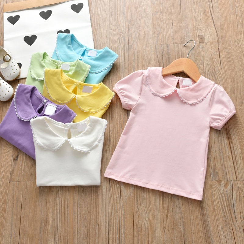 New Summer Children Solid T Shirt Kid Casual Short Sleeve Girls Tee Shirt Kids Shirt Girls Clothing 2020