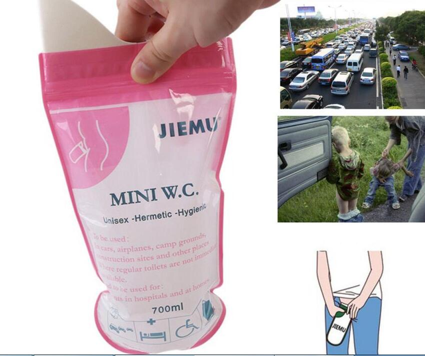 700ML Emergency portable car urine bag vomit bags unisex kids using Outdoor Disposable Pee Bag 2 pces