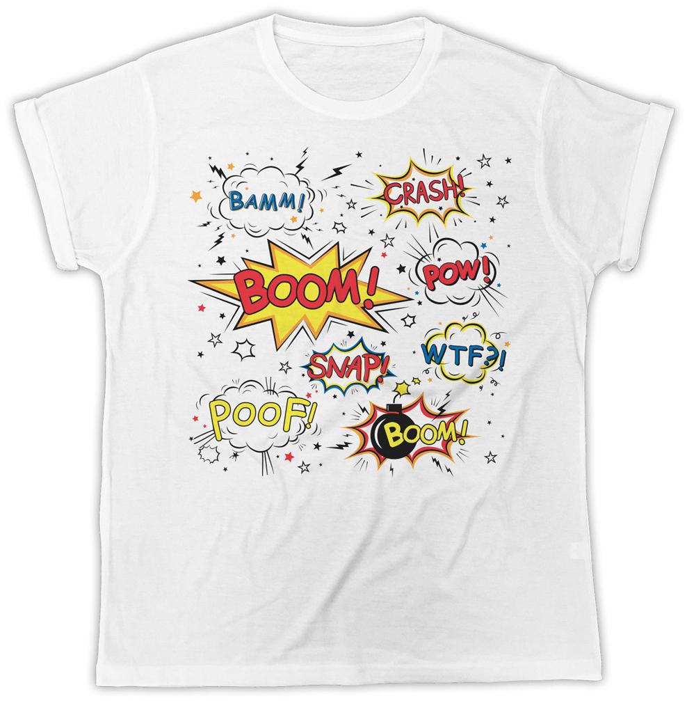 Boom <font><b>Poof</b></font> Snap Bamm Graffiti Ideal Gift Birthday Present Retro Unisex Tshirt For Youth Middle-Age The Elder Tee Shirt image