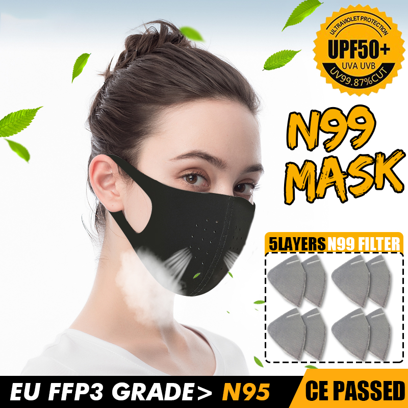 Dust Breathing Mask Activated Carbon Dustproof Mask With 1pcs Extra Carbon N99 Filter For Bacteria Proof Flu Face Masks Care
