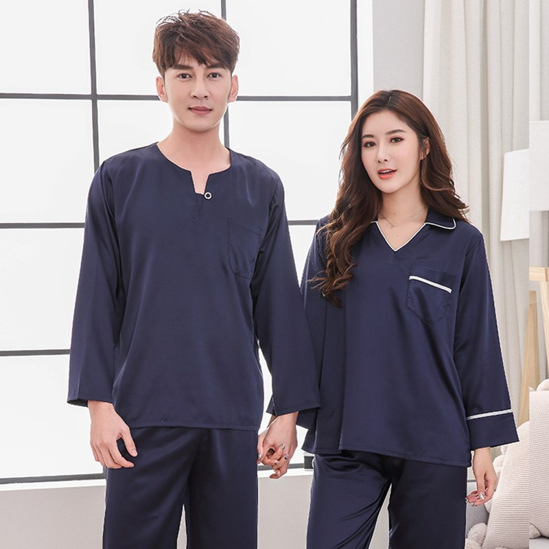 Lover Pajamas Sets Nice Casual Silk Long Sleeve 2 Piece Sleepwear Long Pant Pajamas Set Loose Lounge Pyjamas