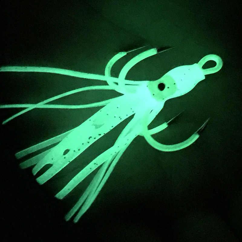 1PCS Angeln Wobbler Jig Weichen Köder Squid Leucht Stacheldraht Fisch haken 6-6,2 cm Künstliche Minnow Crankbait Angeln zubehör Lockt