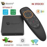 Beelink gt1mini-2 smart tv caixa amlogic android 9.0 s905x3 4 gb ddr4 64 gb rom voz remoto 2.4g + 5.8g wifi 1000 mbps usb bt vp9