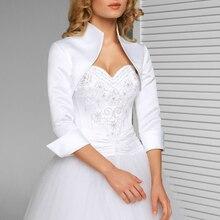 Beyaz fildişi 3/4 kollu düğün ceket yeni saten Bolero ceketler abiye gelin sarar resmi düğün aksesuarları