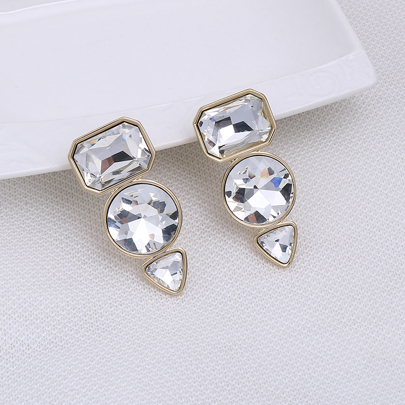 Trendy Big Geometric Transparent Glass Stone Clip On Earrings No Pierced For Women ZA Boho Style Ear Clips With Golden Brincos