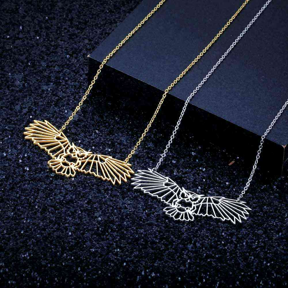 100% Real Stainless Steel 40cm Large Night Owl Necklace Fashion Animal Pendant Necklaces Special Gift Super Quality