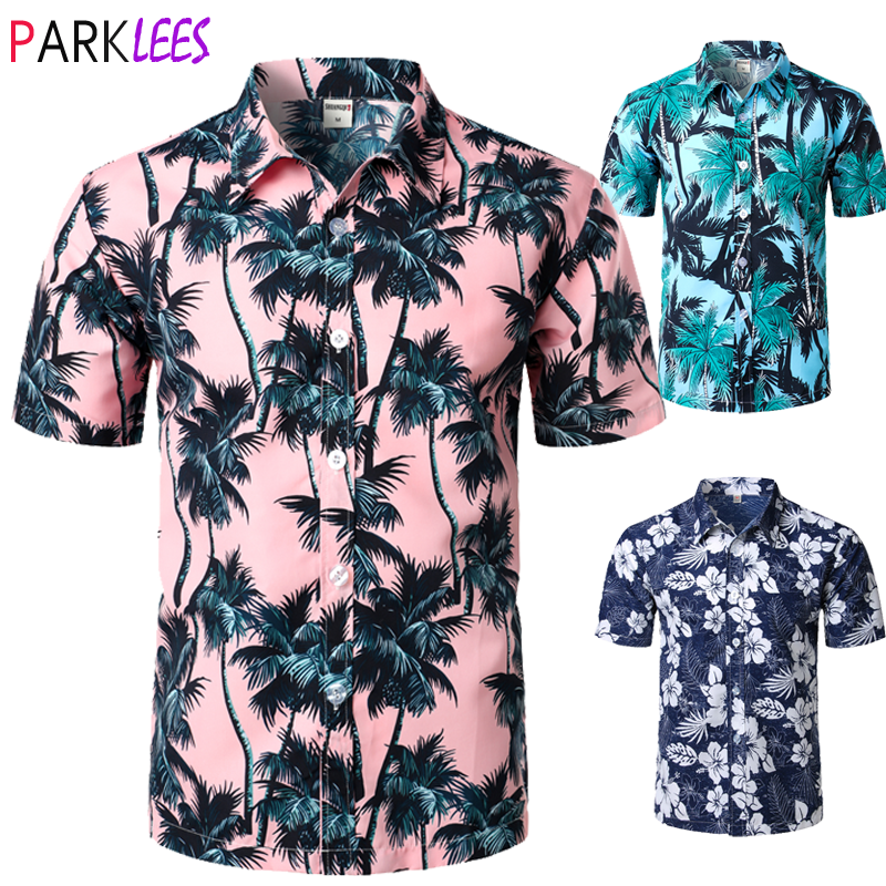 Palm Tree Printed Hawaiian Beach Shirt for Men 2019 Summer Short Sleeve 5XL Aloha Shirts Mens Holiday Vacation Clothing Chemise 1