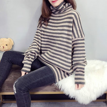 2019 New Winter Women Sweaters Fashion Turtleneck Pullovers Lady Loose Knitted Warm Striped