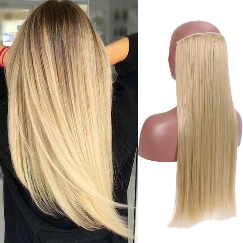 Длинные невидимые волосы для наращивания лески JINKAILI, термостойкие синтетические волосы без зажимов, Натуральные Прямые шиньоны
