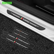 4 pces de fibra de carbono porta do carro adesivo de proteção para fiat tipo