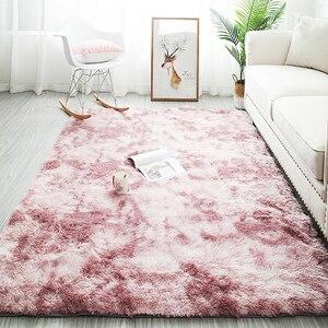 Скандинавский серый ковер, окрашивание галстуком, плюшевые мягкие ковры для гостиной, Противоскользящие коврики для спальни, водопоглощаю...