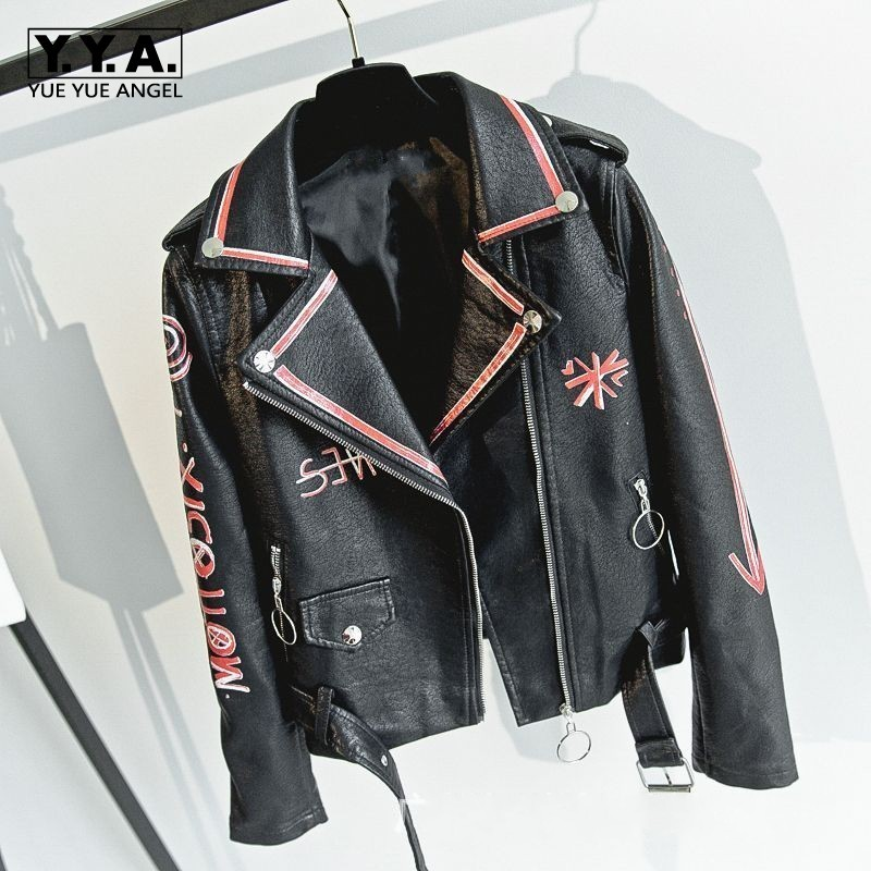 Slim Fit Moto Biker Printed Womens Faux   Leather   Jackets Long Sleeve Zipper Fly Fashion Streewear Spring Female PU   Leather   Coats