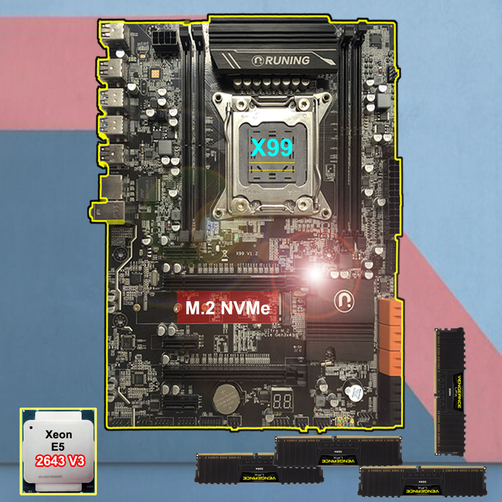 Runing X99 LGA2011-3 Motherboard With M.2 NVMe Slot Discount Motherboard With CPU Intel Xeon 2643 V3 RAM 64G(4*16G) DDR4 2133