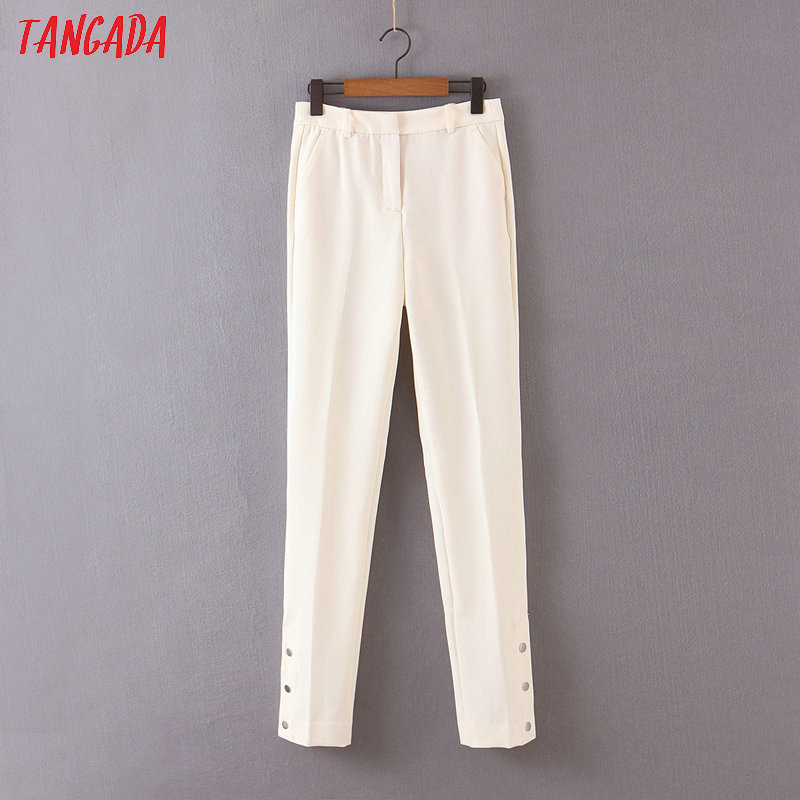 Tangada Fashion Women White Suit Pants Trousers Buttons Decorate Pockets Office Lady Business Pants Pantalon QB60