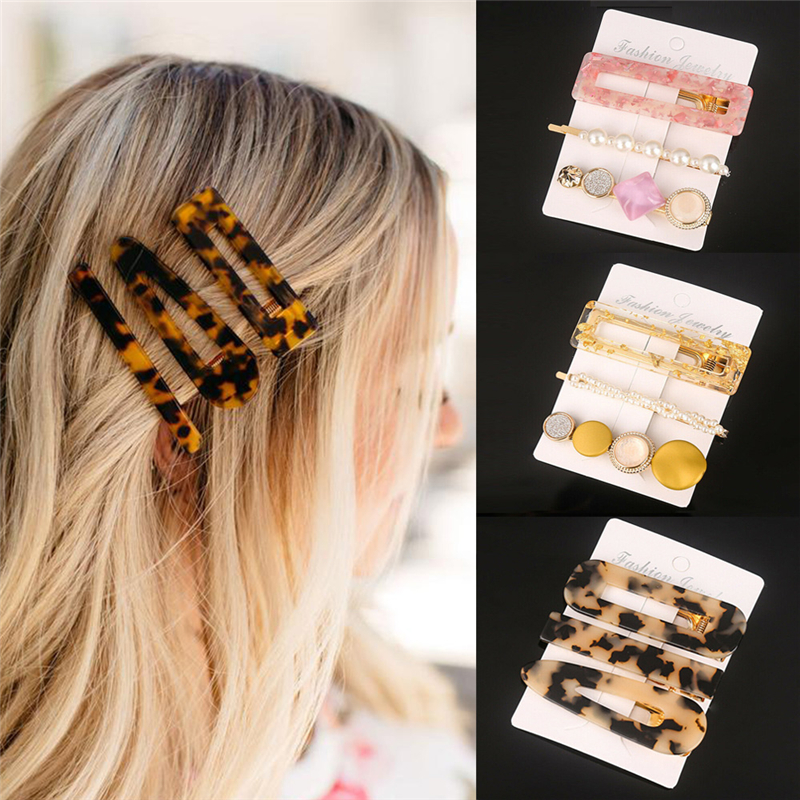 3pcs/set Acetate Geometric Hair Clips for Women Girls Pearl Metal Hairclip Hairpins Barrettes Bobby Pin Hair Styling Accessories