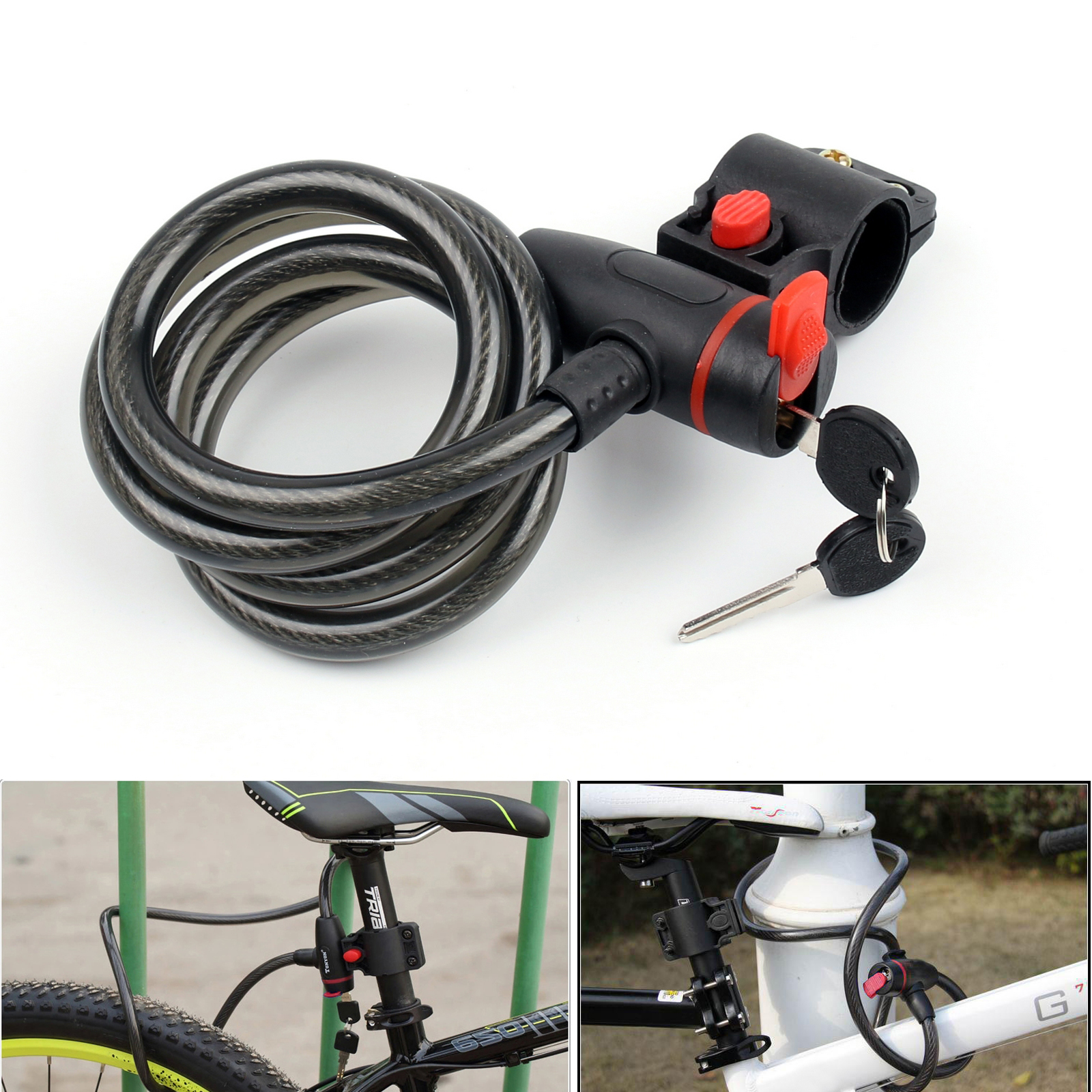 Areyourshop Bicycle Bike Cycle Motorbike Heavy Duty Coil Lock Steel Cable Chain Key Lock Steel Cable Chain Key Accessories