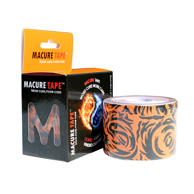 Macure Elastic Water-Resistant Sports Tape Chinese Dragon Printed Muscle Stickers Cotton Kinesio Taping Elbow Support Kneelet