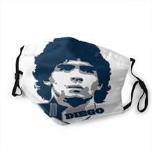 Mascarilla con estampado 3d de maradona Argentina, máscara con filtro para polvo, divertida, para hombre y mujer, Estrella del Fútbol